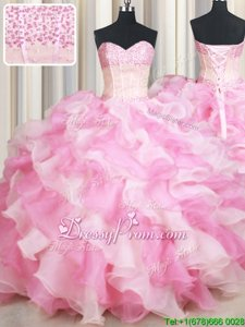 Chic Pink And White Ball Gowns Organza Sweetheart Sleeveless Beading and Ruffles Floor Length Lace Up Ball Gown Prom Dress