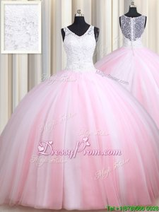 Latest Pink And White Sweet 16 Quinceanera Dress Military Ball and Sweet 16 and Quinceanera and For withLace Straps Sleeveless Zipper