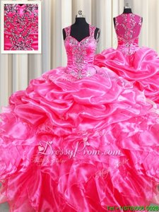 Hot Pink Zipper 15th Birthday Dress Beading and Ruffles and Pick Ups Sleeveless Floor Length