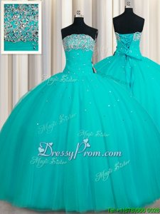 Cute Aqua Blue Ball Gowns Beading and Sequins 15th Birthday Dress Lace Up Tulle Sleeveless Floor Length