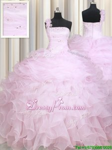 Ball Gowns Quinceanera Gown Baby Pink One Shoulder Organza Sleeveless Floor Length Zipper