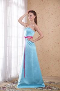 Hot Pink Sash Accent Brush Train Light Blue Quinceanera Dama Dress
