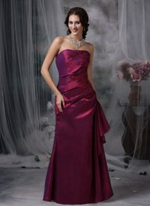 Appliqued and Ruched Purple Taffeta Quinceanera Dama Dress 2014