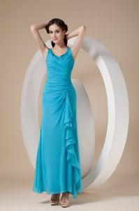 Ruched and Beaded Teal Quinceanera Dama Dress of Ankle Length