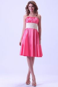 Wide Sash and Ruches Accent Quinceanera Dama Dress in Hot Pink
