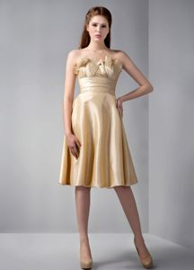 Gold 15 Dresses for Damas with Empire Hemline by Elastic Woven Satin