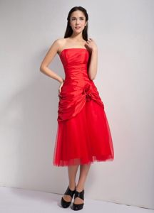 Red Taffeta and Tulle Dama Dress with Hand-made Flowers and Ruche
