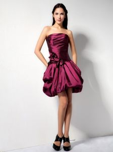 Taffeta Dama Dress for Quinceanera in Mini-length with Hand-made Flower