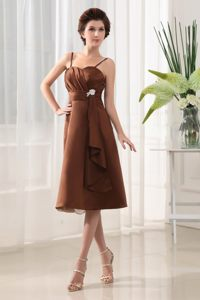 Brown Chiffon Long Dress For Quinceanera Beading Spaghetti Straps