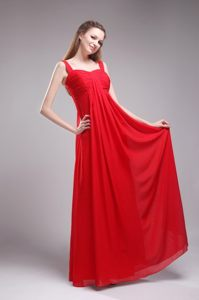 Pretty Zipper-up Sweet 15 Dresses Wide Straps Floor-length in Red