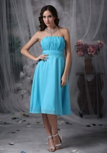 Strapless Aqua Blue Chiffon Empire Short Dama Dresses Ruched