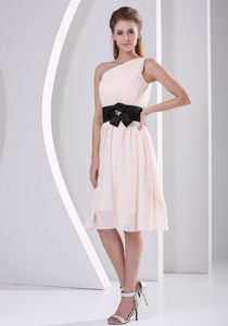 Short One Shoulder Champagne Hand Made Flower Belt Dama Dress