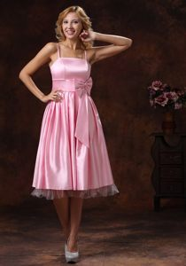 Sashed Baby Pink Tea-length Prom Dress With Spaghetti Straps
