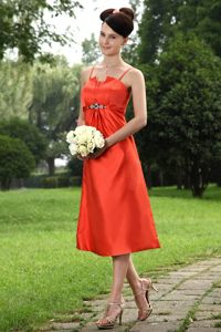 Beaded Spaghetti Straps Orange Tea-length Taffeta Dama Dresses