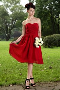 Red Chiffon Sweetheart Empire Ruche Dama Dress in Knee-length
