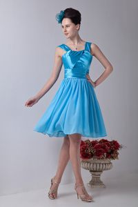 Aqua Blue Chiffon Knee-length Empire Straps Dama Dress Ruched