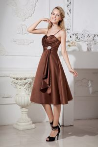 2013 Tea-length Brown Beaded Dama Dress with Spaghetti Straps