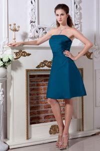 Strapless Teal Knee-length A-line Satin Ruched Chic Dama Dress