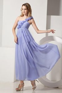 One Shoulder Lilac Chiffon Dama Dress with Hand Made Flowers
