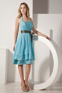 Aqua Blue Halter Short Sash Taffeta Bow Dama Dress in Marseille