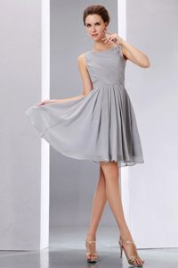 Chiffon Grey Scoop Short Quinceanera Dama Dresses with Ruching