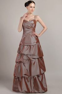 Brown Taffeta Sequined A-line Dama Dress with Spaghetti Straps