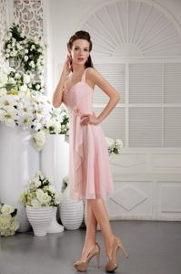 Tea-length Straps Baby Pink Hand Made Flower Dama Dress Ruched