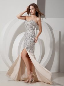 Champagne Mermaid Prom Holiday Dress with Beading and High Slit