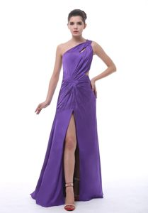 Purple One Shoulder High Slit Prom Evening Dress with Cutout Back