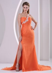 Appliqued One Shoulder High Slit Orange Prom Evening Dresses