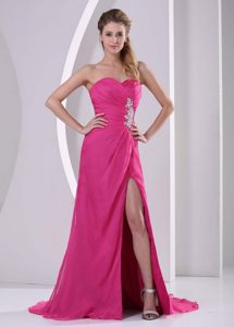 Beading Ruching High Slit Brush Train Prom Gown Dress in Hot Pink