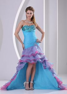 Aqua Blue High-low Prom Gown Dress with Beading and Ruffled Layers