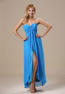 Ruched Blue Sweetheart Chiffon Prom Gown Dress of Ankle Length