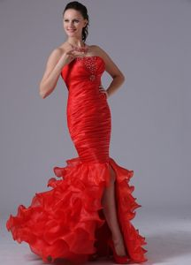 Beaded and Ruched Red Mermaid Prom Gown Dress with Ruffled Layers