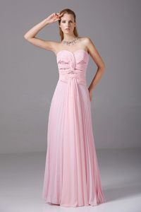 Pink Chiffon Sweetheart long Prom Holiday Dress with Beading and Ruches