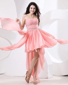 High-low Strapless Beading Ruches Watermelon Chiffon Prom Party Dress