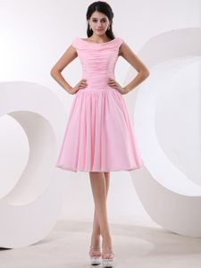 Bateau Ruched Knee-length Baby Pink Chiffon Prom Graduation Dress