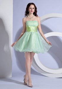 Beading Strapless Mini-length Apple Green Organza Prom Evening Dress