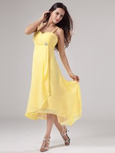 Straps Beading and Ruches Yellow Prom Dress With Asymmetrical Hem