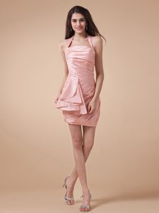 Halter Ruched Baby Pink Mini-length Taffeta Dress For Prom Queen