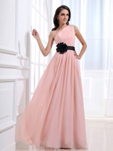 Beaded One Shoulder Black Sash Ruched Baby Pink Chiffon Prom Dress