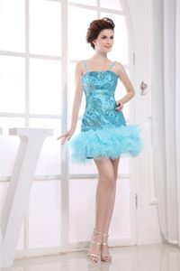 Aqua Blue Straps Appliques Mini-length Prom Celebrity Dress with Ruffles