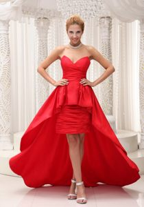 Custom Made High-low Red Ruched Prom formal Dress online