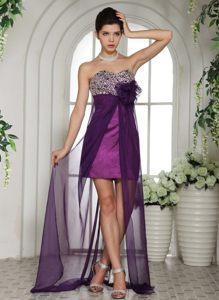 Plus Size Eggplant Purple Beaded Prom Dress with Sheer Hem
