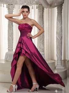 Affordable Strapless High-low Sequins Wine Red Prom Dresses