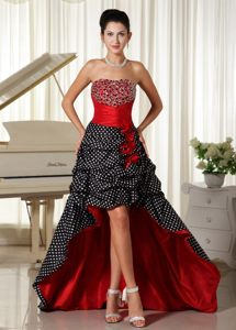 Special Colorful Polka Dot High-low Beaded Prom Party Dress