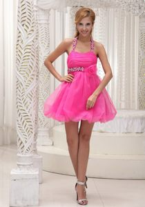 Halter Top Beaded Ruched Puffy Hot Pink Mini Dress for Prom
