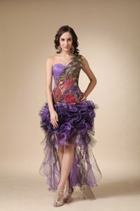 Appliques One Shoulder High-low Ruffled Purple Prom Cocktail Dress