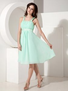 Straps Beading Knee-length Apple Green Chiffon Prom Party Dresses