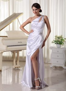 White one Shoulder Beaded Ruched Dress for Prom with Cutout
